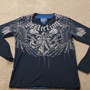 Affliction reversible long sleeve shirt